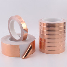 Adhesivo conductor único de cinta de lámina de cobre, blindaje EMI resistente al calor para Guita eléctrica, 20 metros, 5/6/8/10/15/20/30/40/50mm