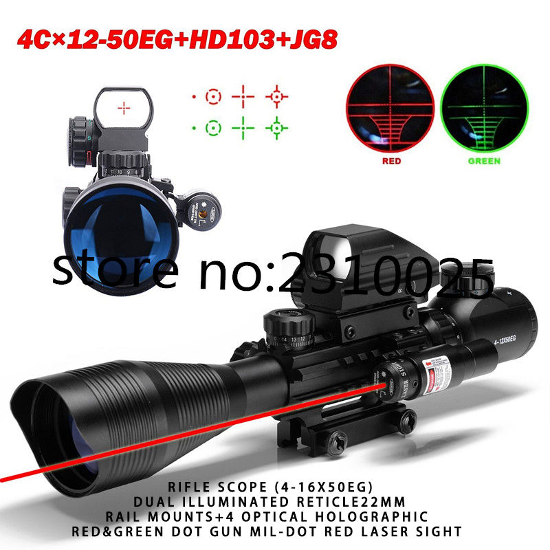 Rifle Scope (4-16x50EG) Dual Illuminated Reticle22MM Rail Mounts+4 Optical Holographic Red&Green Dot Gun Mil-Dot Red Laser Sight 22mm rail 1x 33mm red dot rifle scope 1 x cr2032