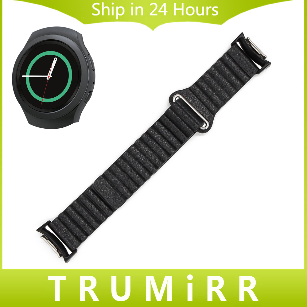 Genuine Leather Watch Band + Adapters for Samsung Gear S2 SM-R720 / SM-R730 Magnetic Lock Strap Quick Release Pin Belt Bracelet silicone rubber watch band strap replacement smartwatch bands link bracelet for samsung galaxy gear s2 sm r720 black blue red