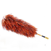 1pc Feather Duster 75cm Fur Plastic Brush Hooked Handle Dust Cleaning Anti static Tool Random Color Handcrafted High Quality