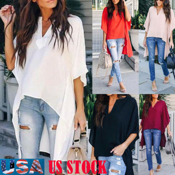 Blusas de verano 2019 para mujer, Túnica suave de gasa con cuello en V Irregular elegante, camiseta Casual de media manga de murciélago transpirable sólido
