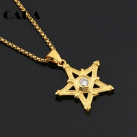 CARA Gold Color Plated Stainless Steel Men Hip Hop Necklace Big Rhinestone Star Pendant Popcorn Chain