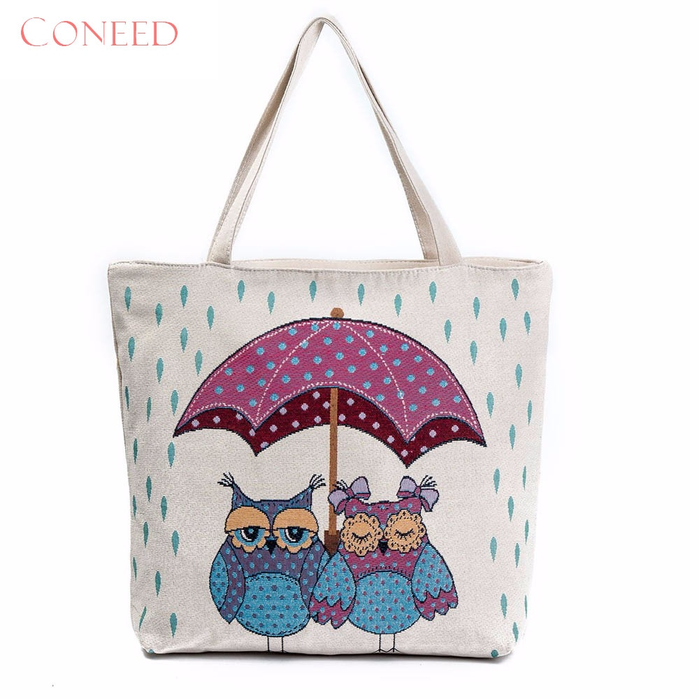 Charming Nice Coneed Best Gift Owl Printed Canvas Tote Casual Beach Bags Women Ping Bag Handbags Whole Y35 In Shoulder From Luggage