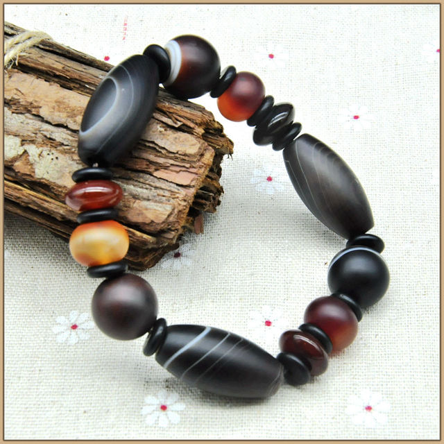 Yumten 2017 Fine Bracelets For Women Men Jeweley Stone Natural Bead Bracelet Women Crystal Natural Agate Black Bracelets Jeweley
