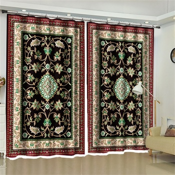 Classical Symmetrical Moroccan Baroque Exotic Decorative Curtains Blackout Drapes for Living Room Bedroom Kitchen Door Window