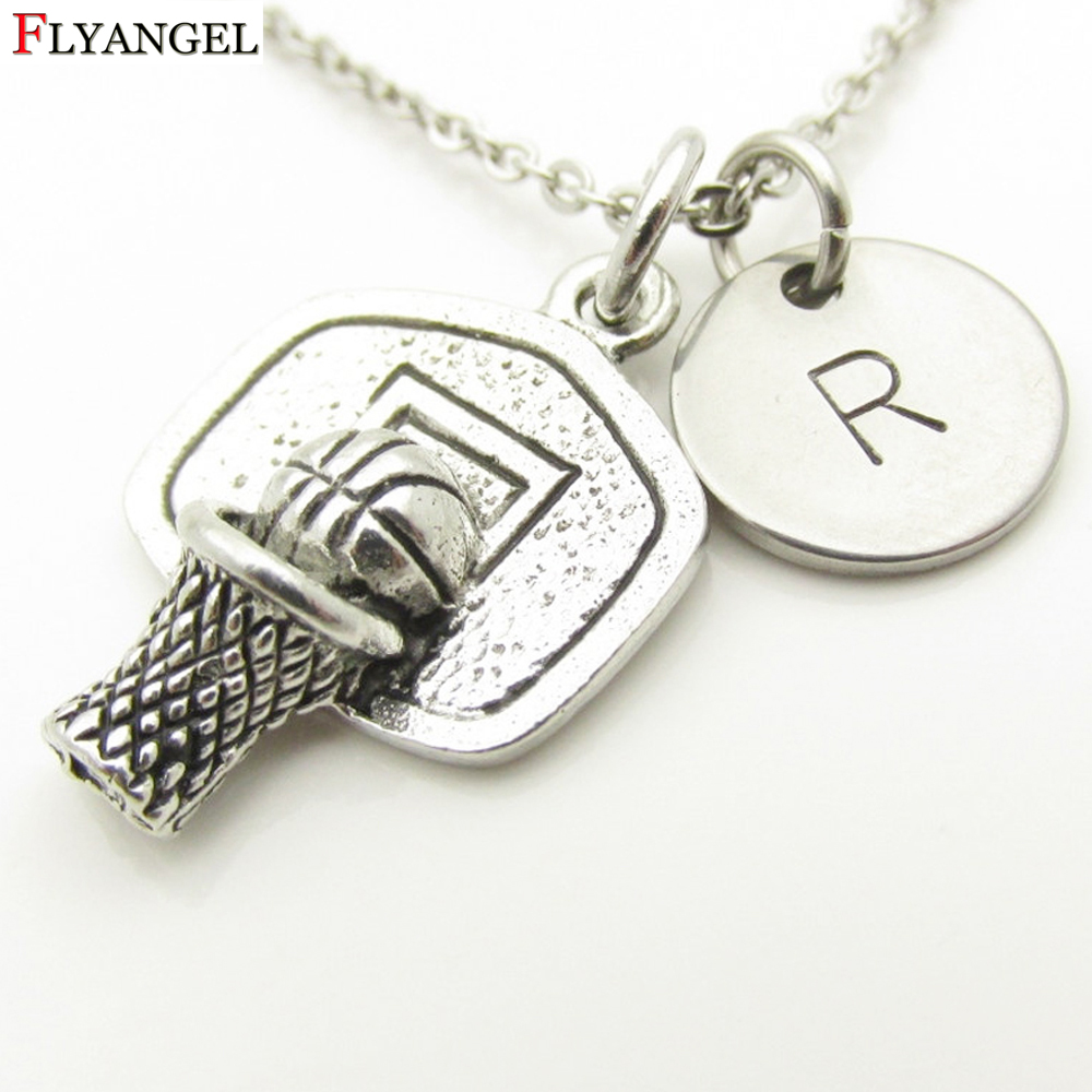 Hiphop Style Men Basketball Necklace Pendant Antique Silver Basketball Box Board Hoop Necklace with Initials