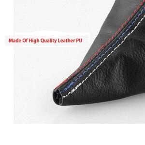 Image 4 - Car Shift Gear Stick Manual Handbrake Gaiter Shift Boot Black Leather Boot Car Styling For BMW 3 Series E36 E46 M3