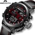 Мужские часы MEGALITH  спортивные кожаные военные часы с хронографом и цифровым дисплеем  2019