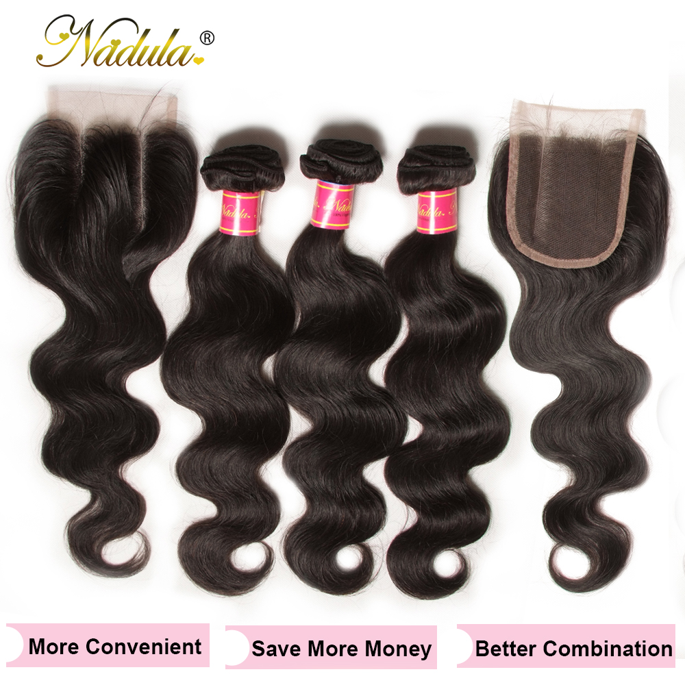 Nadula Hair 3 Bundles With 2Pcs Closures  Body Wave With Closure 100%  Bundles With 4*3 Lace Closure 3