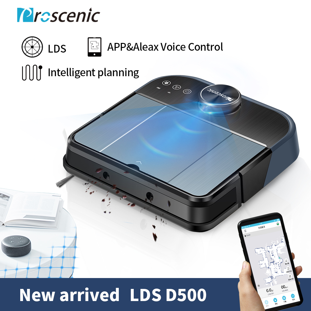 Proscenic D500 WLAN LDS laser Robot Vacuum Cleaner robots 3200ma recharger battery 2000pa Max Suction Self Charge Robotic Vacuum in Vacuum Cleaners from Home Appliances
