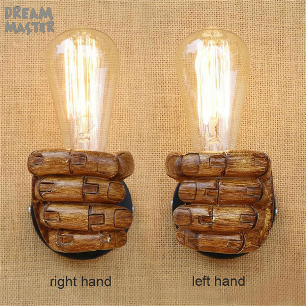 Nordic Loft Style Resin Metal Wall Sconce Art Decor left hand right hand bedside Wall Light