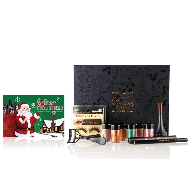 11pcs/set Women Christmas Makeup Set Eyeshadow Powder Eyebrow False Eyelashes Mascara Ey ...