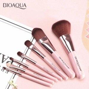 Image 4 - BIOAQUA Juego de 7 brochas de maquillaje para mujer, conjunto de brochas de maquillaje para rostro, cosmética Facial de belleza para ojo, sombra, base, colorete, brocha de maquillaje