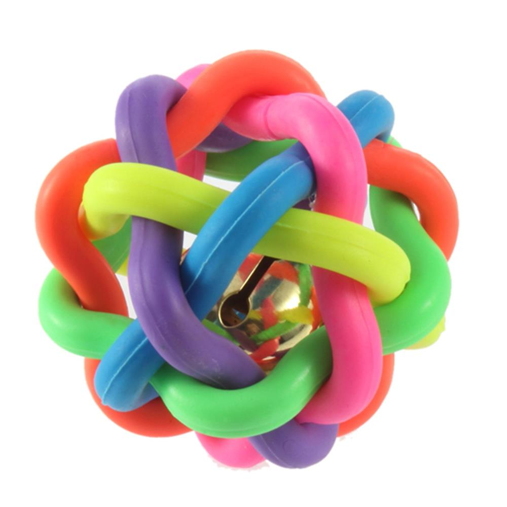 1pc Top Sale colorful ball pet New Pet Dog Cat Toy Colorful Rubber Round Ball with Small Bell Toy Pet Dog Chewing Balls New