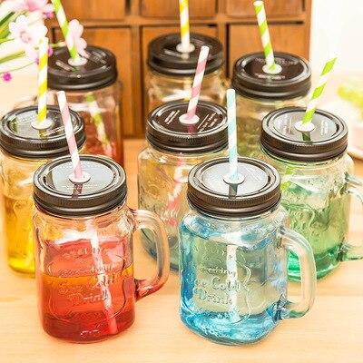 Vintage 16 UNZE Maurergläser Trinken Gläser Kalt Trinkflasche Glasbecher mit Deckel und strohhalm für Hochzeit DEC060