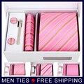 Nova alta qualidade laço dos homens define rosa Straped gravata conjuntos com ( gravata + abotoadura + cachecol caixa + Gift ), Masculino moda ties define