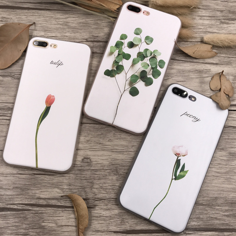 For iPhone 7 Case 3D Embossing Flower Leaf Leaves Plants Sot TPU Cover For iPhone X 6 6S 7 7 8 Plus 10 Case Silicone Ultra Thin