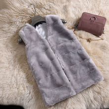 Winter Women Vest Faux Fur Sleeveless V-neck Fur Vest Jacket Women Plus Size 4XL Korean Clothing Beige Gray White Fur Coat