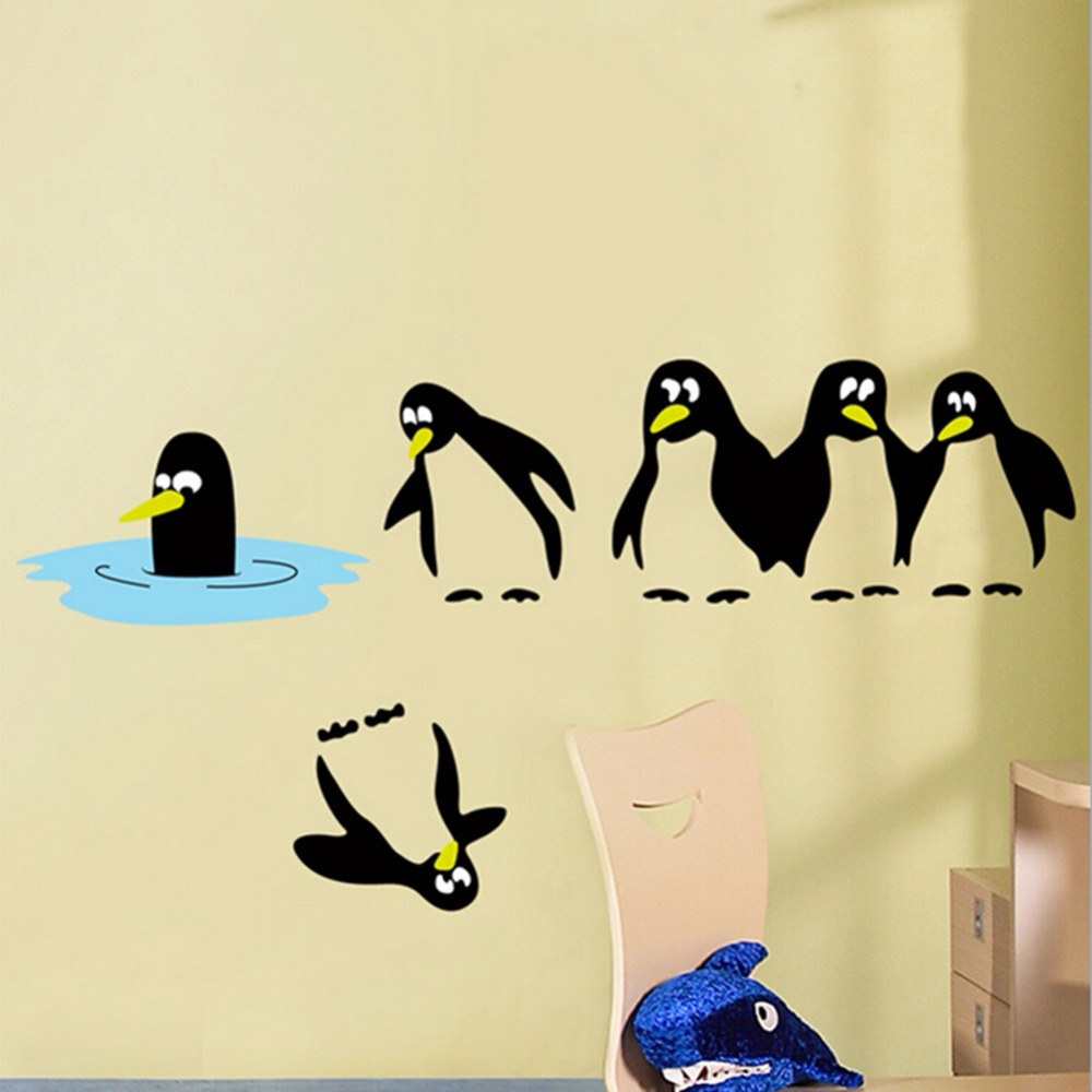 New Creative Penguin Modeling PVC Art Wall Stickers Home Decoration ...