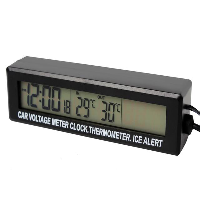 Alta Calidad Con Alerta de Hielo In/Out Termómetro Medidor de Voltaje monitor de negro 12 v 24 v digital lcd 3 en 1 metro del coche # hp