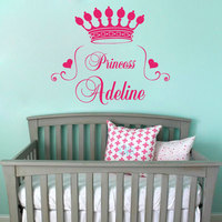 Home Decor Quote Princess Crown Wall Decal Heart Custom Personalize Name Monogram Baby Girl Nursery Room