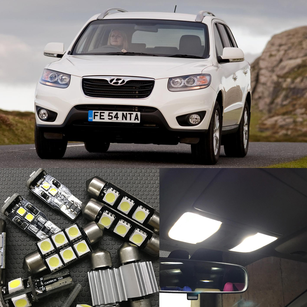 13pcs Error Free White Premium LED Interior Light Kit For 2007-2012 Hyundai Santa Fe Interior Map Dome Trunk License Plate Lamp car 5630 smd interior map dome trunk light led bulb white led kit package for volvo 850 1991 1995 with install tools