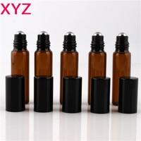 100pcs Lot 5ml 1 6oz ROLL ON AMBER Fragrance GLASS BOTTLES ESSENTIAL OIL Glass Roller Ball