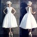 Loja online china 2017 Chá de Comprimento Vestidos de Noiva Branco Um linha de Cetim Decote Em V comprar vestido de noiva Custom Made vindima