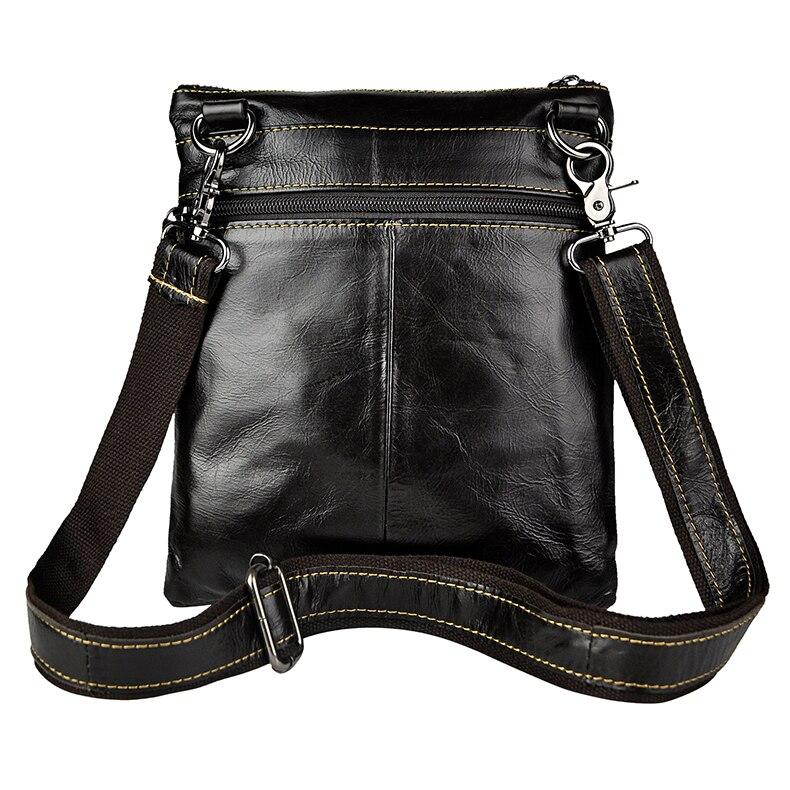Décontracté Retro hommes 8 pouces tablette téléphone sacs fantaisie en cuir véritable sac à bandoulière sacs solide couleur homme sac en cuir Packs - 4