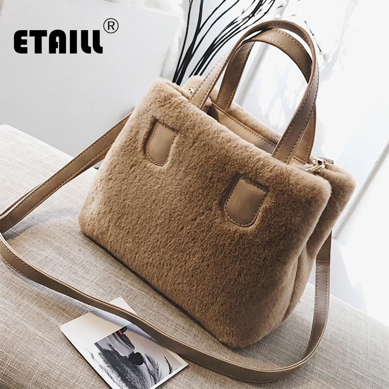 ETAILL Women Pu Leather Bag Faux Fur Portable Top Handle New Fashion Winter Women's Bag Shoulder Handbag Crossbody Messenger Bag