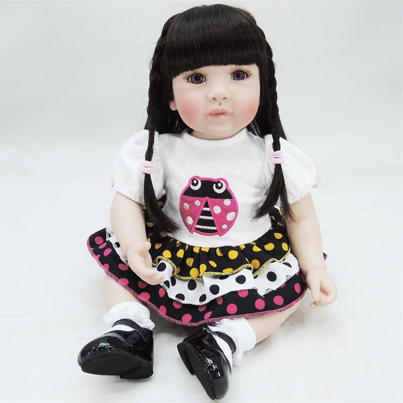 Pursue 24/60 cm Beautiful Dress Cute Baby Soft Silicone Reborn Toddler Princess Girl Doll Toys for Children Girls Birthday Gift 18 inches american girl doll princess doll 45 cm soft plastic baby doll playing toys for children s birthday gift girls present