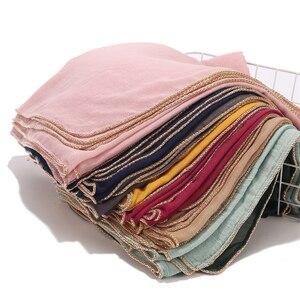 Image 1 - Nowy przyjście złoty łańcuch hidżab szalik perły muzułmańskie bawełniane szale łańcuszki zwykły okłady szale Maxi moda pokrowiec na główkę szaliki