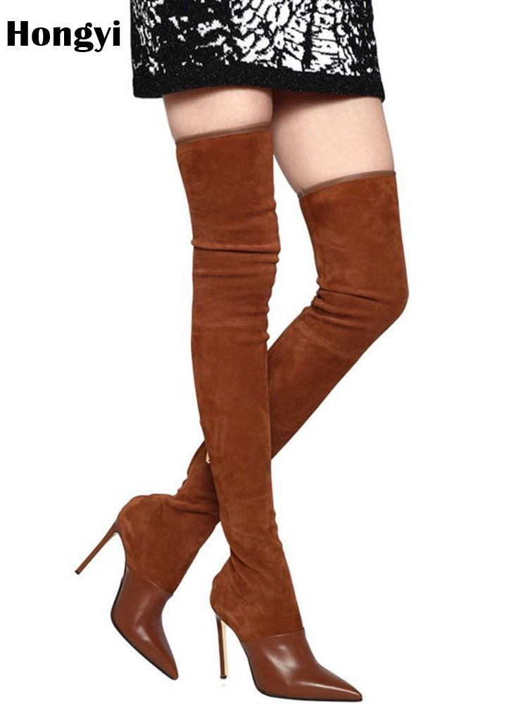 Longues Pour Mince Color Bottes Plus Showed De Talons Black as Slim Qualité Top Leather À Hauts Genou Fit Mode Hiver Femmes Le B6OWq1Zn