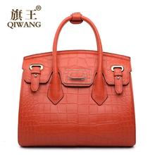 Women bag QIWANG 2016 new genuine leather bag fashion luxury crocodile grain platinum bag quality women handbags shoulder bag