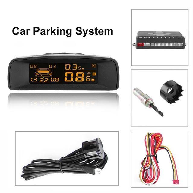 Um conjunto estilo Do Carro Display Digital Distância Completo Kit De Sensor De Estacionamento de Carro Invertendo Radar LCD A10 Com 4/6 /8 sonda Sensor de Estacionamento