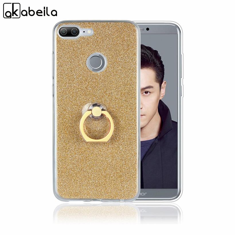 AKABEILA Case For Huawei Honor 9 Lite Case Silicone For Huawei Honor 9 Lite Case Glitter Finger Ring Back Cover AL00/AL10/TL10