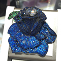 Blue Rose broche de Flor de pinos de prata esterlina 925 com zircão cúbico flor grande broche para casaco exaggerate moda mulheres jóias