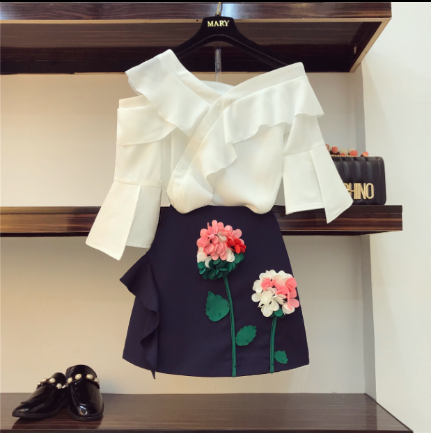 2009 Spring Summer Temperament Dress Suit Women Fragrance Goddess Slash Neck Shirt + Flower Skirt Two Piece Lady Skirts Set