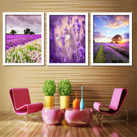 Framed Painting On The Wall For Bedroom Lavender Modern Pictures Home Decoration Art Landscape White Black