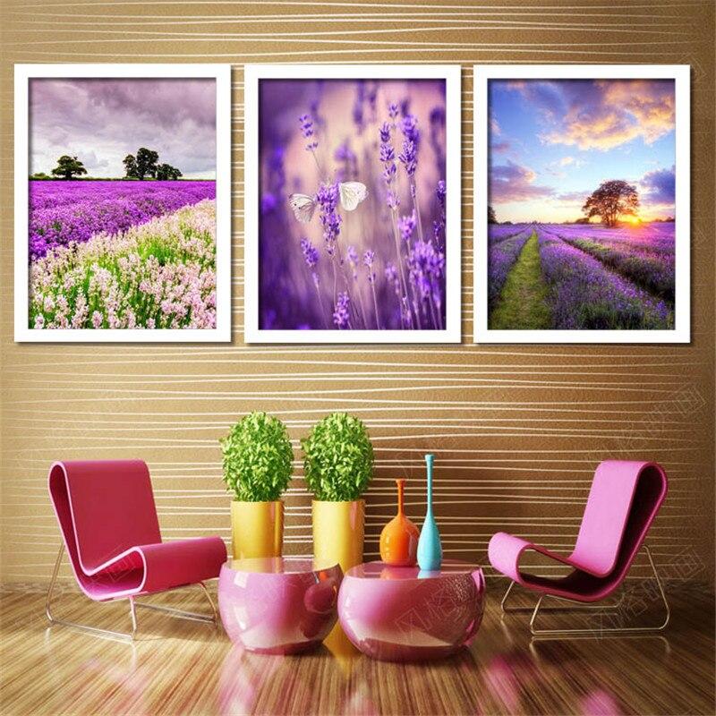 US $18.98 49% di SCONTO|Incorniciato pittura sul muro per la camera da  letto lavanda quadri Moderni decorazione della casa di arte del paesaggio  ...