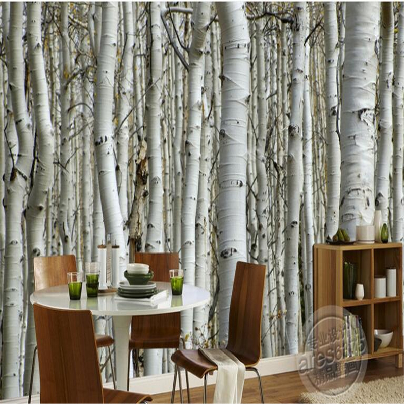 Beibehang Custom Photo Wallpaper Wall Murals Wall Stickers High-end Atmospheric Birch Trees Shocked 3D TV Backdrop  Wall Papers