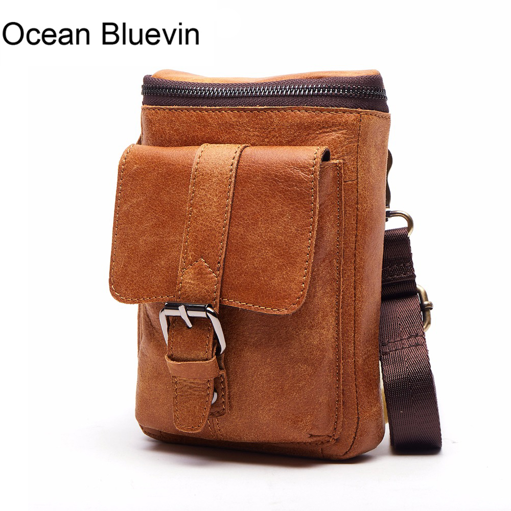 OCEAN BLUEVIN New Hot Men Casual Small Genuine Leather Shoulder Bags Leather Messenger Crossbody Travel Bag Handbag for Men Male meigardass new style male genuine leather handbag man bag crossbody shoulder bag small casual messenger bags for men cowhide