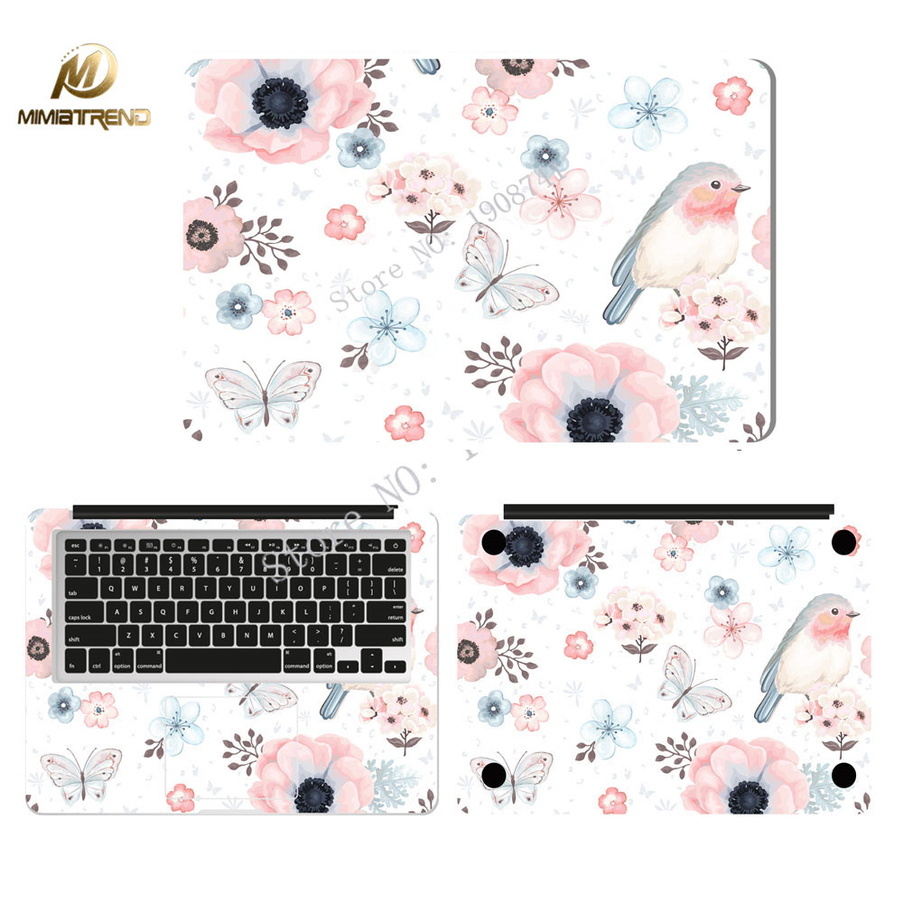 Mimiatrend Bunga dan Burung Laptop Sticker Decal Untuk Apple Macbook - Aksesori komputer riba