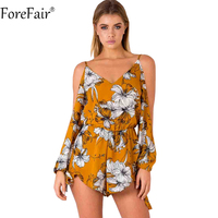 ForeFair Sexy Open Sleeve Boho Print Playsuit Boot Cut Backless Yellow Rompers Womens Jumpsuit Plus Size