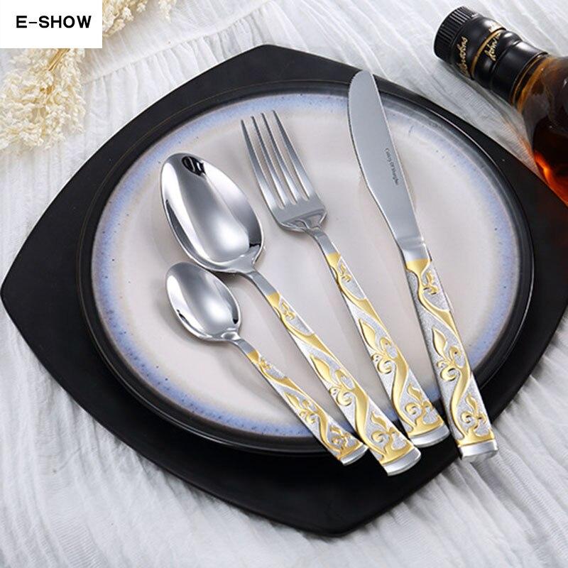 Luxury Flower Dinnerware Set Stainless Steel Cutlery Set Bronzing Silver Knife Fork Tableware European Western Food Set 4 Pcs
