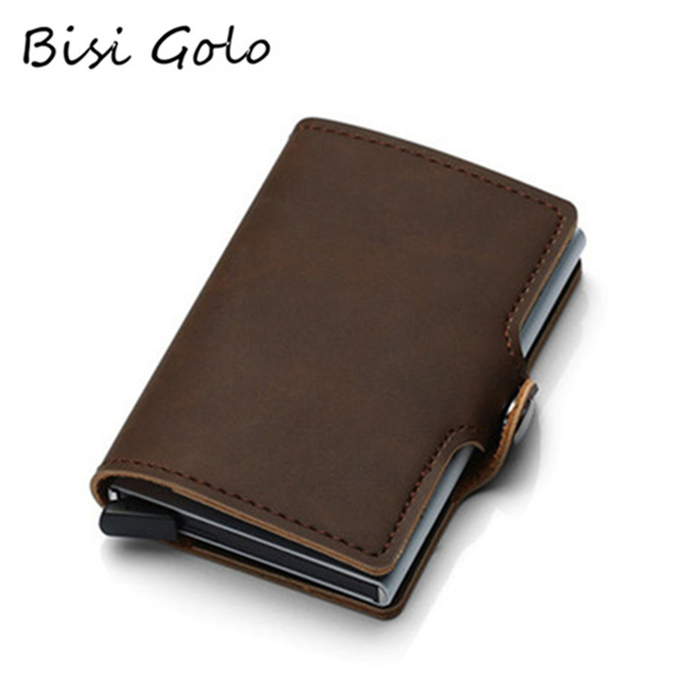 BISI GORO 2019 PU Leather Credit Card Holder Card Case Women And Men RFID Wallets Hasp Vintage Business ID Holder Single Box