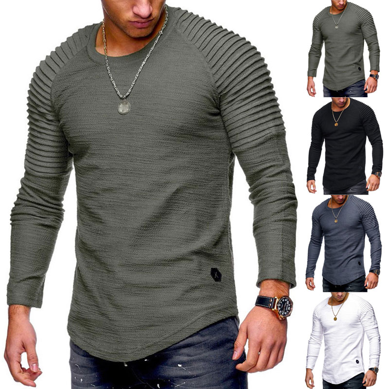 Men   T  -  shirt   Casual Style Tops autumn and winter Long sleeve   T     shirt   Slim Solid Color Fold Round Neck Blouse Fashion Mens tshirt