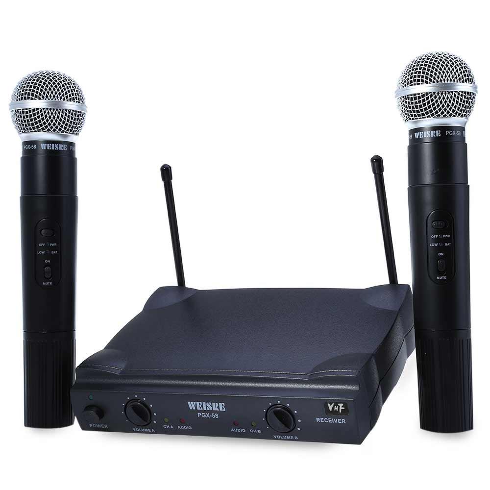 Prix pour Chaude WEISRE PGX58 Omni-directionnelle VHF Double Poche 2 x Mic Sans Fil Récepteur Sans Fil Microphone avec Récepteur pour le Karaoké KTV