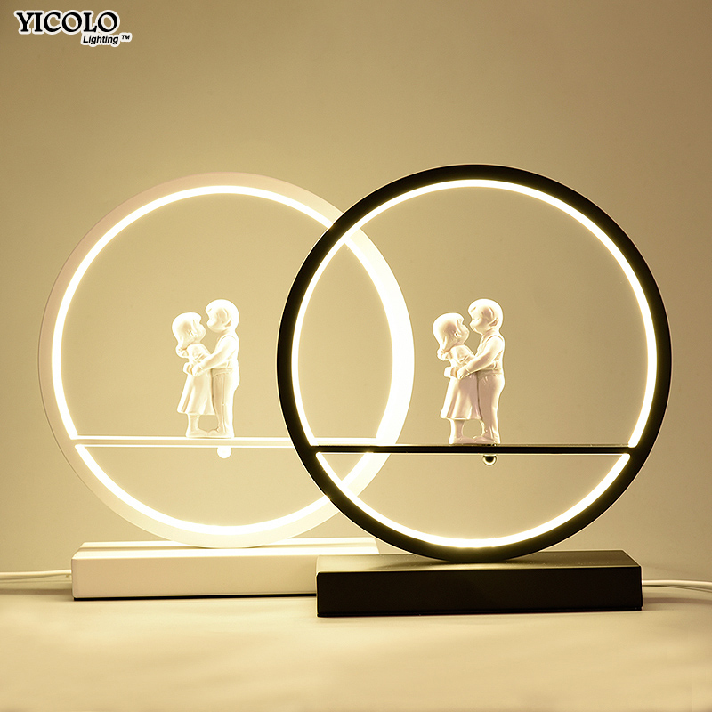 LED couples Table Lights for Bedside Bedroom Table Lamp Desk Light white black body Study Room Bedroom Lighting LED home fixture super bright led solar powered table lamp home bedroom study room garland lighting three mode energy saving lights decoration