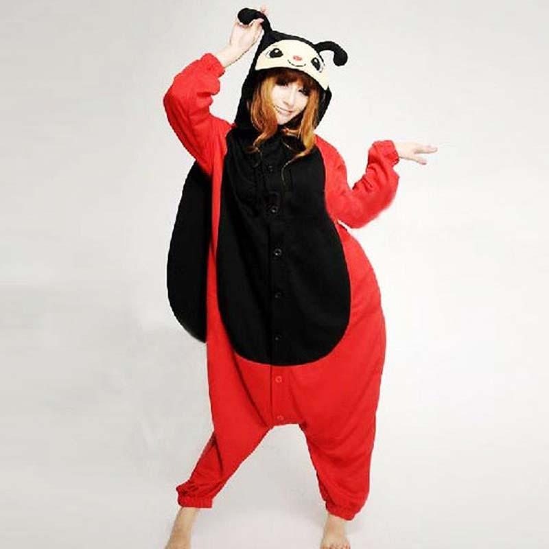Ladybug costume,Cute Cartoon Spring Winter Animal Ladybug Onesie for Women Men Adult Pajamas Polar Fleece Polyester Sleepsuit